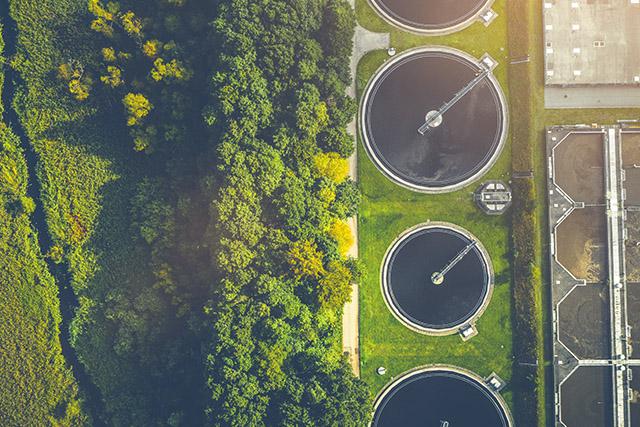 A water treatment plant among greenery